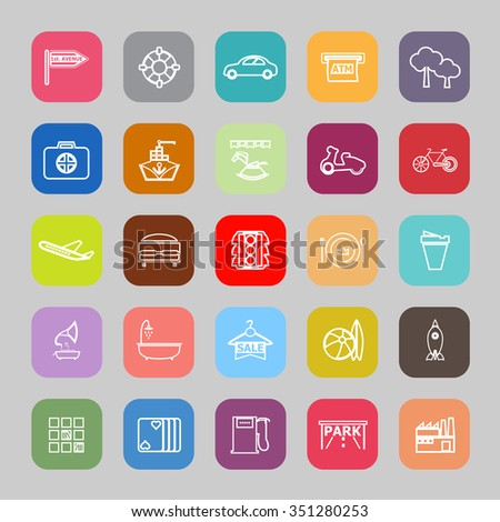 Map place line flat icons, stock vector