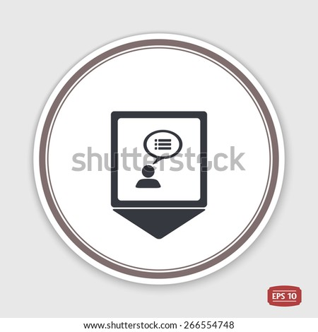 Map pointer. A person with a cloud. Dialog icon. Human thought bubble above his head. Flat design style. Emblem or label with shadow. Made in vector illustration - stock vector