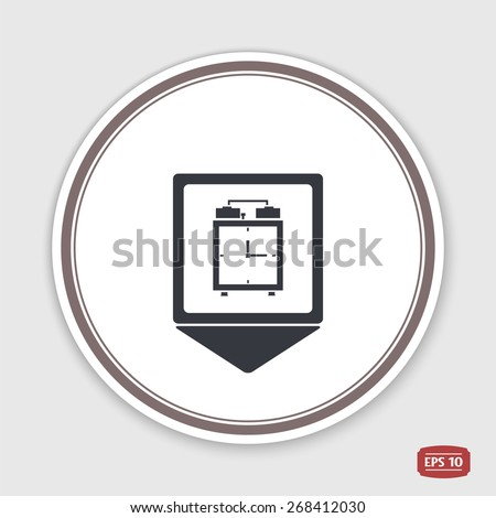 Map pointer. Alarm clock icon. Flat design style. Made vector illustration. Emblem or label with shadow. - stock vector
