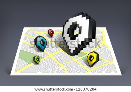 Map pointer cursor icon with city map vector illustration - stock vector