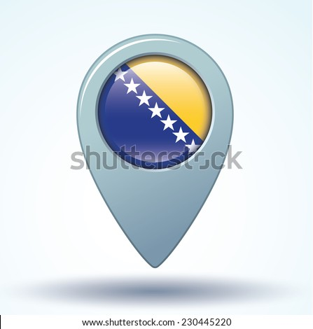 map pointer flag of Bosnia and Herzegovina, vector illustration - stock vector