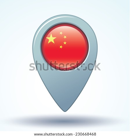 Map pointer Flag of China, vector illustration. - stock vector