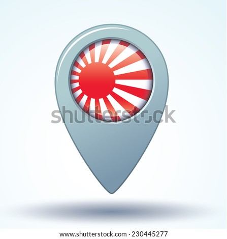 map pointer flag of Japan imperial, vector illustration