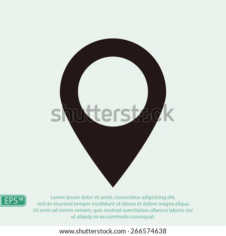 Map pointer flat icon, vector illustration. Flat design style - stock vector