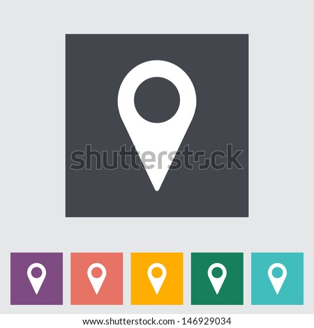 Map pointer flat single icon. Vector illustration. - stock vector