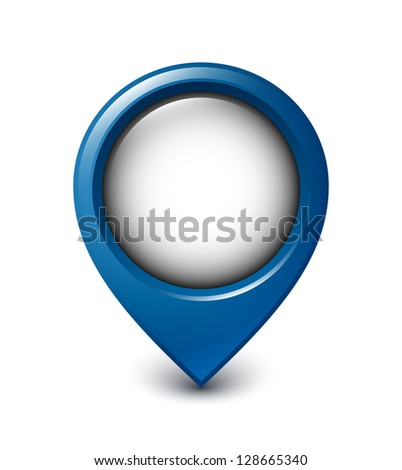 Map pointer icon on white background - stock vector