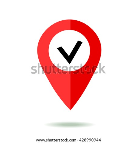 Map pointer icon set with check symbol. GPS location sign. Flat design style. Isolated On White - stock vector