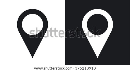 Map pointer icon, stock vector. Two-tone version on black and white background