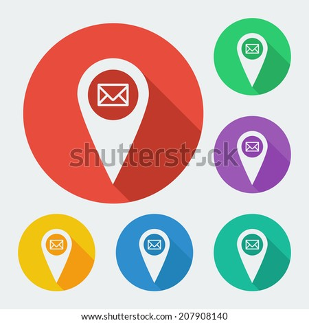 Map pointer icon with long shadow - geo tag vector web illustration, six colors set, easy paste to any background