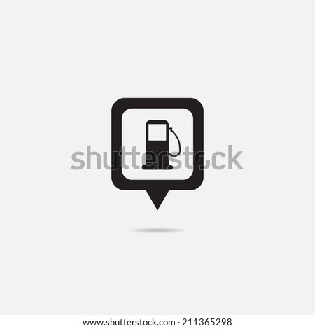 Map Pointer Icon With Petrol Station, Petroleum Station, Filling Station or Gas Station. - stock vector