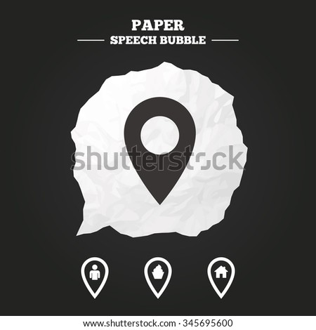 Map pointer icons. Home, food and user location symbols. Restaurant and cupcake signs. You are here. Paper speech bubble with icon. - stock vector