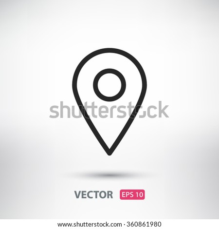 Map pointer, linear icon. One of a set of linear web icons