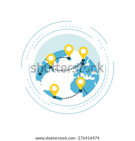 Map pointer mark with globe - stock vector