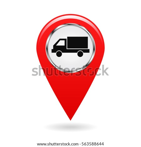 Map pointer. Pointer vehicle location, road transport and highways. Motor van or truck. The risk of collision. Safety symbol. The red object on a white background. Vector illustration.