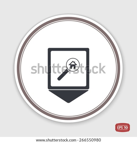 Map pointer. Vector searching for house of home with magnifying icon. Emblem or label with shadow. Flat style - stock vector
