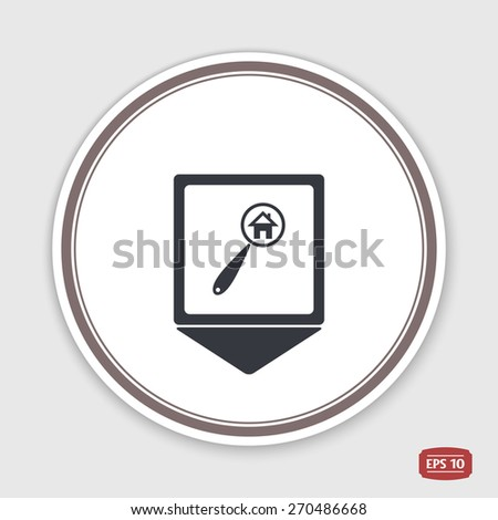Map pointer. Vector searching for house of home with magnifying icon. Flat style. Emblem or label with shadow. - stock vector