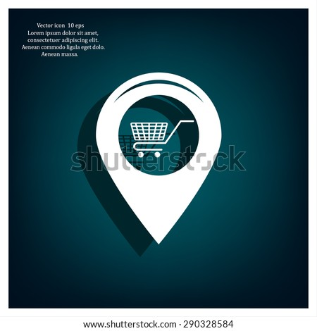 Map pointer with a shopping cart symbol - stock vector
