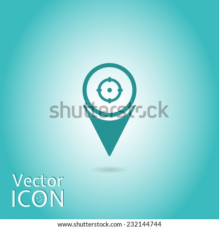 Map pointer with aim icon. Flat design style. Made in vector - stock vector