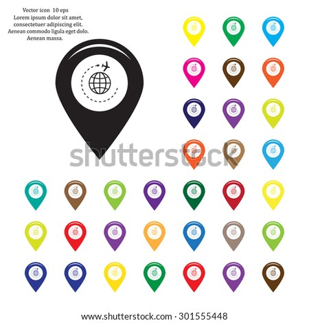Map pointer with air plane icon.map pointer.vector illustration