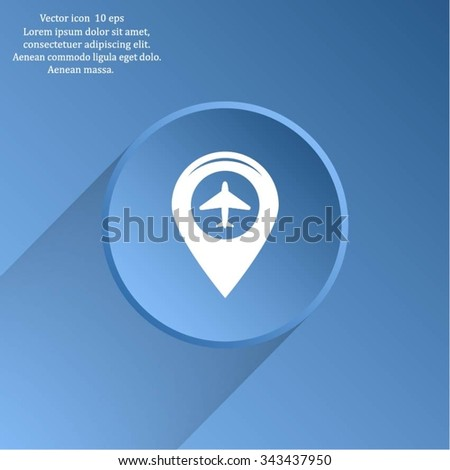 Map pointer with air plane icon.map pointer.vector illustration - stock vector