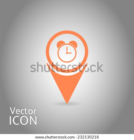 Map Pointer with alarm clock icon. Flat design style. Made in vector - stock vector