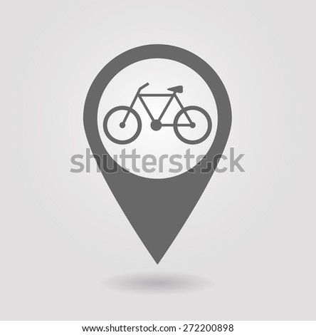 Map pointer with bicycle icon - stock vector