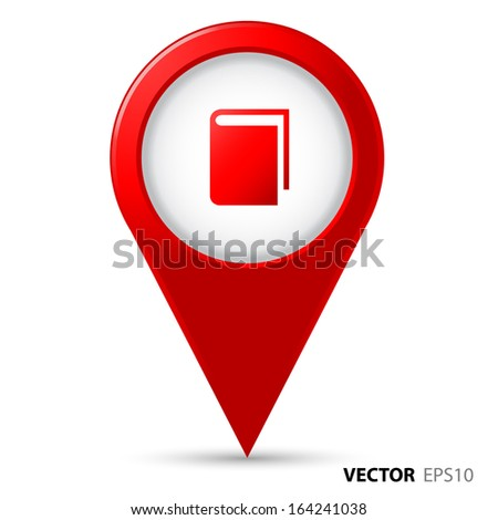 Map pointer with book icon - stock vector