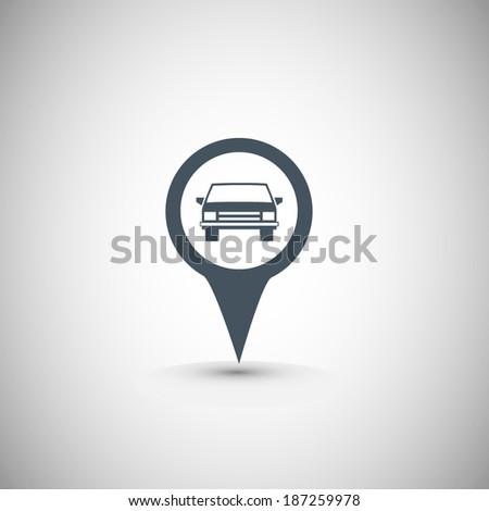 Map pointer with car icon. - stock vector