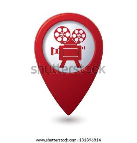 Map pointer with cinema icon. Vector illustration - stock vector