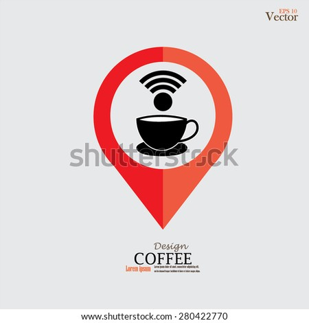 Map pointer with coffee cup and wireless icon.vector illustration. - stock vector