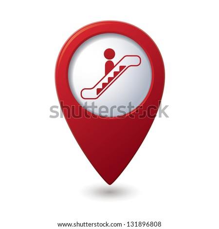 Map pointer with escalator icon. Vector illustration - stock vector