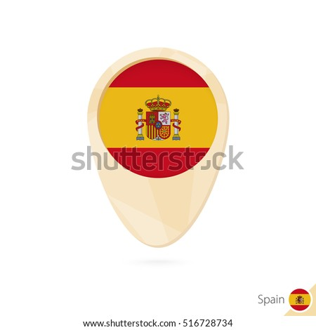 Map pointer with flag of Spain. Orange abstract map icon. Vector Illustration.