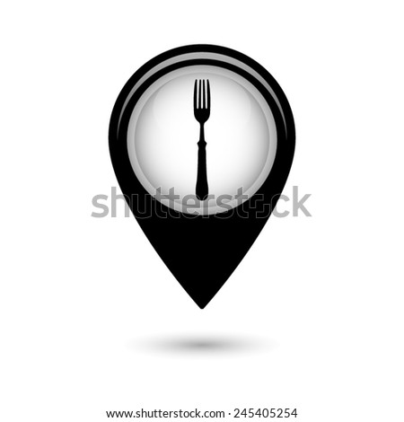 Map pointer with fork  icon - stock vector