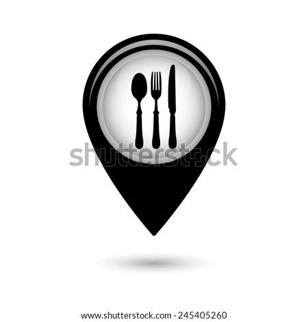 Map pointer with fork spoon knife icon - stock vector