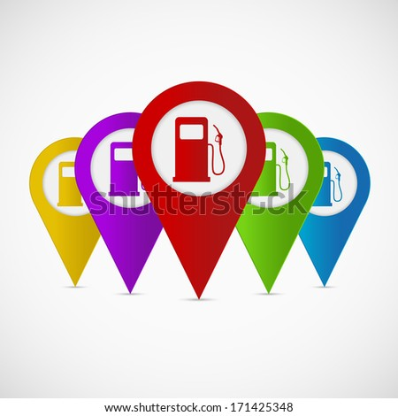 Map pointer with gas station icon. Vector illustration - stock vector