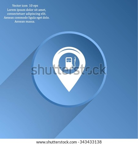 Map pointer with gas station icon. Vector illustration. - stock vector