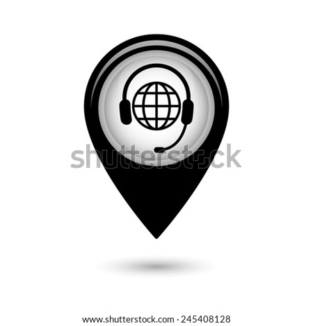 Map pointer with Global support or worldwide service icon - stock vector