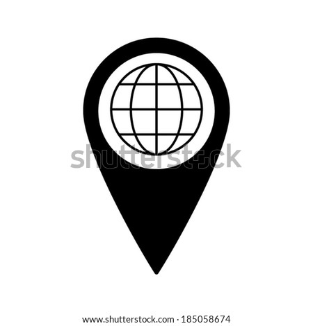 Map pointer with Globe earth icon - stock vector