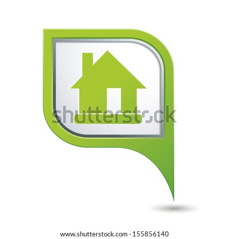 Map pointer with home icon. Vector illustration - stock vector