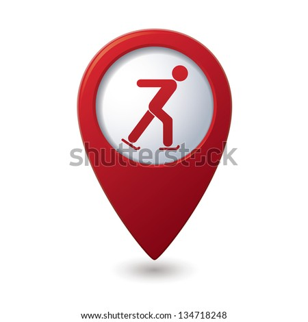 Map pointer with ice skater symbol. Vector illustration - stock vector