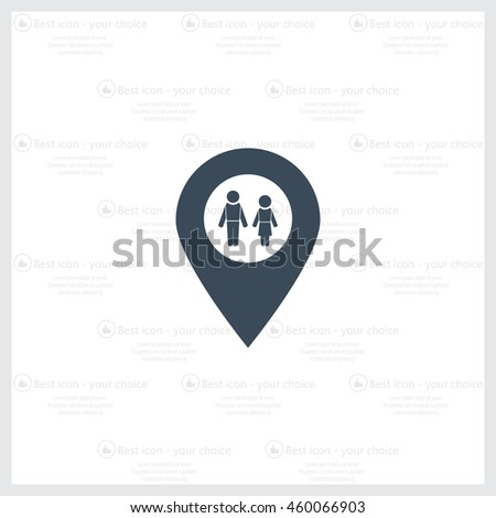 Map pointer with man and woman icon.