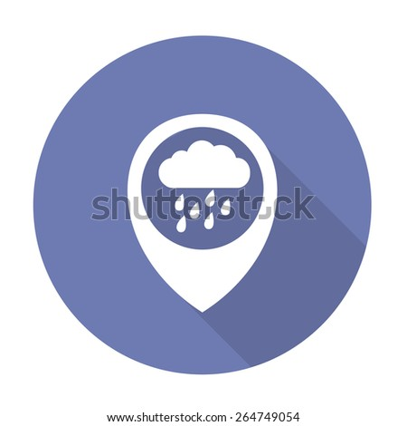 map pointer with rain icon. vector illustration - stock vector