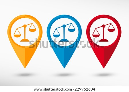 Map pointer with scales balance sign. Flat design style  - stock vector