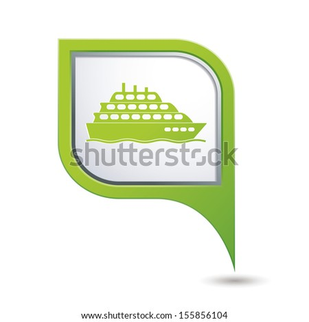 Map pointer with ship icon. Vector illustration