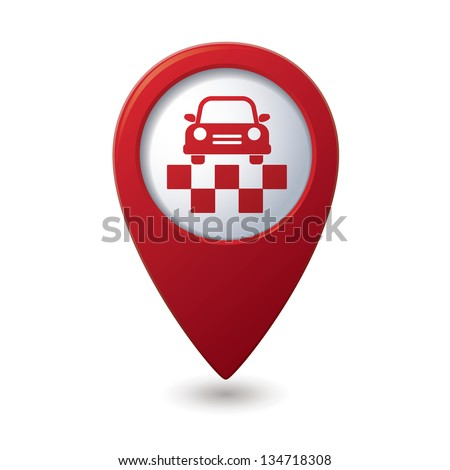 Map pointer with taxi symbol. Vector illustration - stock vector