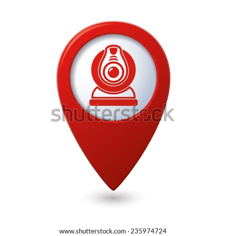 Map pointer with web camera icon. Vector illustration - stock vector