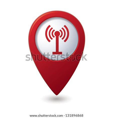 Map pointer with wireless icon. Vector illustration - stock vector