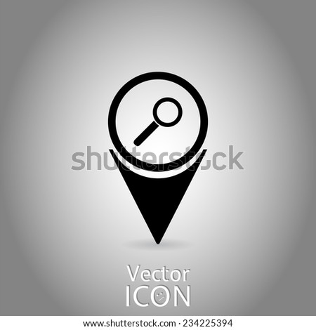 Map Pointer with Zoom Icon. Flat Design Style. Made in vector
