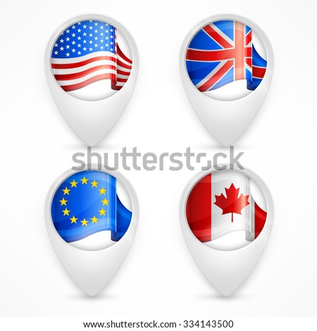 Map pointers, GPS markers with flags on white, vector illustration - stock vector