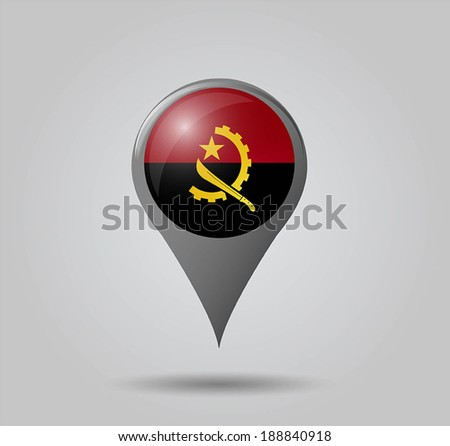 Map pointers with flag and 3D effect on grey background - Angola - stock vector